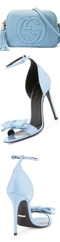 Gucci Clodine Patent Leather Sandal, Mineral Blue and Gucci Soho Small Nubuck Shoulder Bag, Light Blue