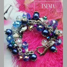 Cluster bracelet Shine bracelet Crystal bead bangle Faceted