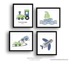 Transportation Art Print Set Train Airplane by PitterPatterPrint
