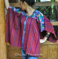 VINTAGE Guatemalan Huipil Blouse Authentic Mayan Textile ~ Santo Domingo Xenacój Gypsy Boho Top Poncho