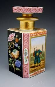 French OLD Paris Porcelain Chinoiserie Perfume Cologne Bottle Hand Painted | eBay