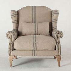 french vintage toulouse fabric club chair stripped linen accent chair ht