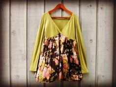 Upcycled Avocado Green Floral Tunic Top// Large XL// by emmevielle, $63.00