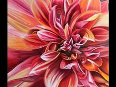 How to paint a dahlia flower blossom with fiery red, orange and yellows.