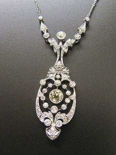 Beautiful diamond necklace, Belle Epoque 1910, platinum