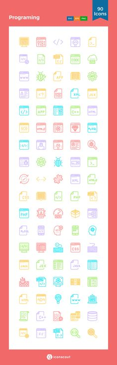 Programing  Icon Pack - 90 Filled Outline Icons