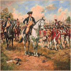 At the height of the War For Independence a contingent of Virginians and Pennsylvanians pass by the Commander-in Chief, in line of battle during the campaign of 1777.