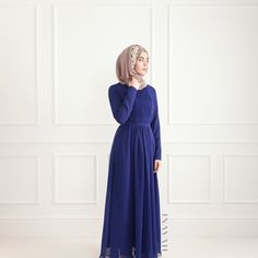 - Make a royal statement in this stunning shade of blue. An effortless and free flowing gown, the perfect choice for all your special occasions.  Blue Pleated Gown  Light Flint Crepe Hijab  Embroidered head band will be made available via @inayahoutlet and refined pieces available over the coming weeks via @inayahc