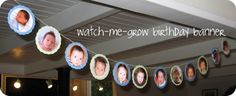 Watch me grow birthday banner - I absolutely want to do this next year for the girls' bday party. First Birthday Banners, Birthday Fun, 1st Birthday Parties, Birthday Ideas, Birthday Garland, Grad Parties, Holiday Parties, Graduation Open Houses, Graduation Banner