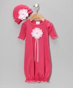 Take a look at this Berry Sequin Rose Gown & Beanie by Too Sweet on #zulily today!