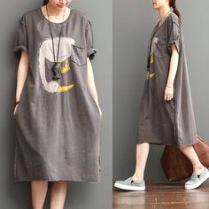 cotton knit casual duck print loose dress   Shoulder Tulum, Shirt Dress, T Shirt, Knitting, Shoulder, Casual, Cotton, Collection, Dresses