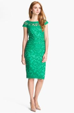 Tadashi Shoji Embroidered Lace Sheath Dress, A sheer yoke circles the bateau-style neck and cap sleeves atop a jewel-toned lace sheath trimmed by embroidered stitching that accentuates a slender frame. Green Lace, Green Dress, Lovely Dresses, Beautiful Outfits, Petite Dresses, Short Dresses, Party Mode, Lace Sheath Dress, Party Fashion