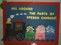 Parts of Speech Interactive Bulletin Board You could put spelling words up each week Grammar Bulletin Boards, Literacy Bulletin Boards, English Bulletin Boards, Elementary Bulletin Boards, Interactive Bulletin Boards, Back To School Bulletin Boards, Classroom Helpers, Classroom Ideas, Nouns And Verbs