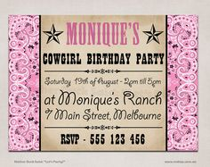 Cowgirl supplies party ideas pinterest supplies napkins and pink cowgirl bandana birthday party invitation by motherducksaid 1000 filmwisefo