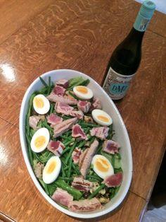 DMZ Chardonnay with Salade Nicoise & test match special on the box. Nicoise Salad, Cobb Salad, Grapefruit, Peach, Twitter, Box, Snare Drum, Peaches
