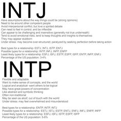 INTJ - INTP. Accurate. Since I'm INTJ and my husband is INTP, I can definitely…