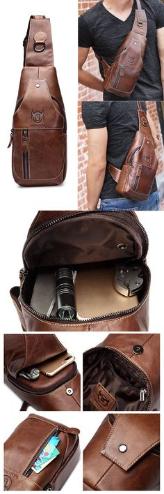 NEW Unisex Casual  Crossbody Shoulder Leather Bag Antique BROWN Zip Top BAG Luke