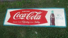 icollect247.com Online Vintage Antiques and Collectables - 1950S COCA COLA SIGN ORIGINAL EXCELLENT Advertising-Soda