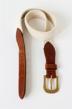 vintage white fabric and leather belt