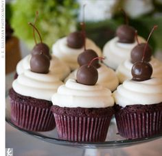 Chocolate cupcakes with cherry