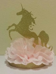 Baby Shower - Gold Glitter Unicorn Centerpiece  I'd like to somehow make s hanging version for the ceiling.