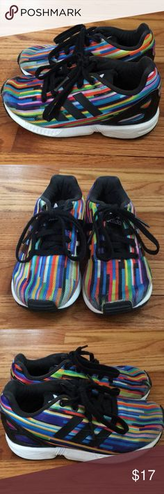 Adidas ZX Flux sneakers Good condition! Toddler boys size 11 Adidas ZX Flux sneakers. Rainbow geometric pattern and ortholite inner soles. Slight wear on toes and the only minor imperfection is I had to glue the rubber on the left toe once, but as you can see these were not worn much. adidas Shoes Sneakers