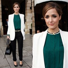 Rose Byrne in Paris For Paris Fashion Week Wearing Forest Green Top and White Blazer | POPSUGAR Fashion