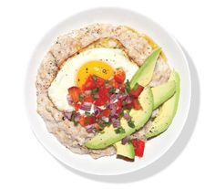 Oatmeal With Fried Egg and Avocado Oatmeal goes south of the border with sliced avocado, fresh salsa, and a fried egg.