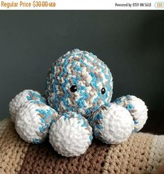 20% Off Entire Shop  Thanksgiving Sale, now through Thursday Nov. 30th. Hand Crochet Large Octopus Soft Toy #etsy #toys #blue #christmas #gray #octopusbluetoy #crochetoctopus #grayoctopus #largeoctopus #handmade #bigamigurumi #amigurumioctopus #amigurumicrochet http://etsy.me/2mESBed