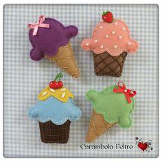 #felt #icecream ;) by carambola arte em feltro, via Flickr