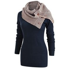 344eedb4bc9 NAME YOUR OWN PRICE -Women Striped Buttons Scarf Skew Neck Long Sleeve  Knitted Sweater Pullover Coat