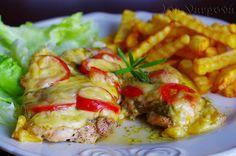 Zapékaná krůtí prsa s pestem a sýrem | NejRecept.cz Pesto, Baked Potato, Potatoes, Cooking Recipes, Treats, Chicken, Baking, Ethnic Recipes, Food