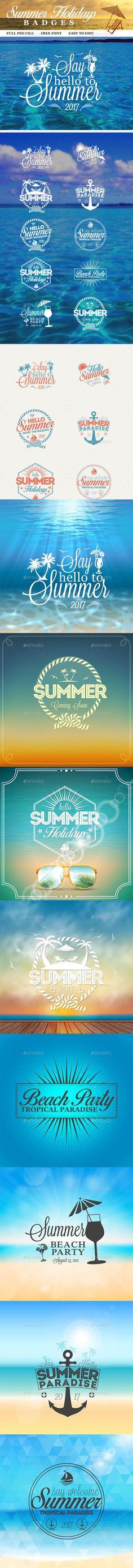 Summer Holidays Badges Templates PSD