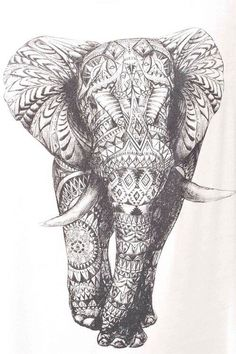 Mandala elephant sketch tattoo drawing