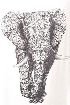 Mandala elephant sketch tattoo drawing