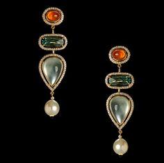 MANDARIN GARNET, TOURMALINE AND PREHNITE WITH DIAMOND REGINA EARRINGS