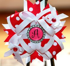 Hot Pink & White personalized INITIAL center HAIRBOW