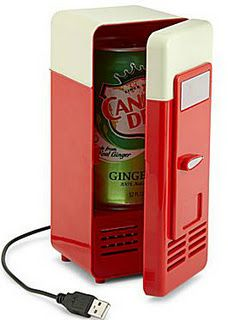 Mini fridge for a single can of soda.
