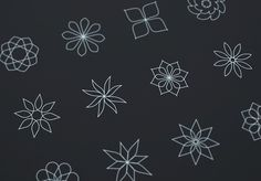 Abstract Flower Line Icons (Vector)