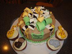 Safari baby shower cake and cupcakes