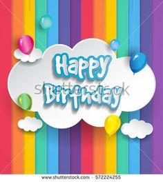 Happy Birthday vector design for greeting cards with balloon and gift box, isolated with clouds on rainbow background