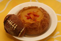 Check out the adorable sourdough football -- Souperbowl Sunday - potato soup free of the top 8 allergens