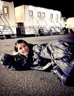 Shelley Hennig on the set of Teen Wolf.