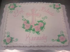 baptism cake with cross and flowers
