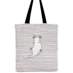 Spiral POCKET KITTEN Bag 4 Life Canvas 80z Long Handle Tote Bags//CatCute//Bag