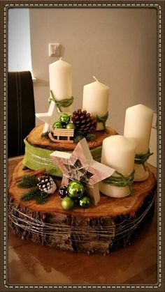 """Adventskranz""                                                                                                                                                     Mehr Buche Baum, Christmas Diy, Christmas Decorations, Table Decorations, Holiday, Merry, Decoration Noel, Dining Room, Room Decor"