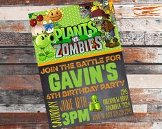 Plants VS Zombies. Plants VS Zombies invitation. Plants VS Zombies Party. Plants…