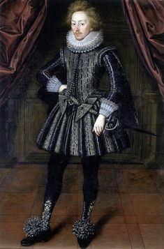 *** Dudley, 3rd Baron North, 1614-15 Unknown artist - low-heeled shoes are dwarfed by glittering rosettes of spangled ribbon