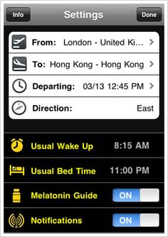 The enemy of every jetsetter: jetlag. JetLag Genie keeps you on top of your game, no matter how demanding your travel schedule. Simply tell the Genie your flight info as well as your regular sleep schedule. It will start adjusting your wake and sleep times in the three days leading up to your departure, gradually resetting your internal clock to Japan time (or wherever you?re headed).