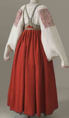 "Interesting ""halter"" dress and sleeves. Historical Costume, Historical Clothing, Folk Fashion, Vintage Fashion, Quoi Porter, Folk Costume, Costumes, Lesage, Ethnic Dress"